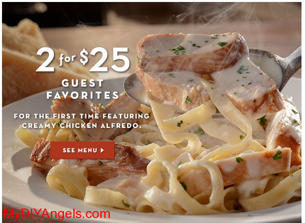 Olive Garden Two Entrees for Just 25! (With images