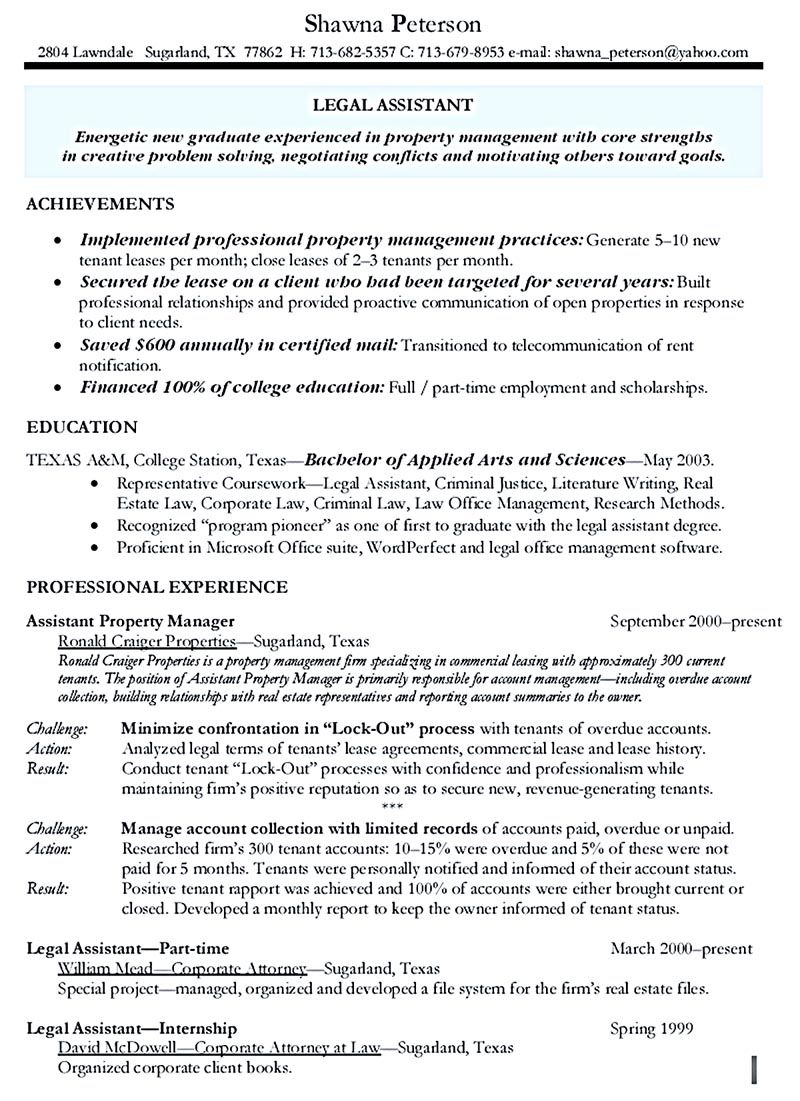 Property Manager Resume Objective - Resume Sample