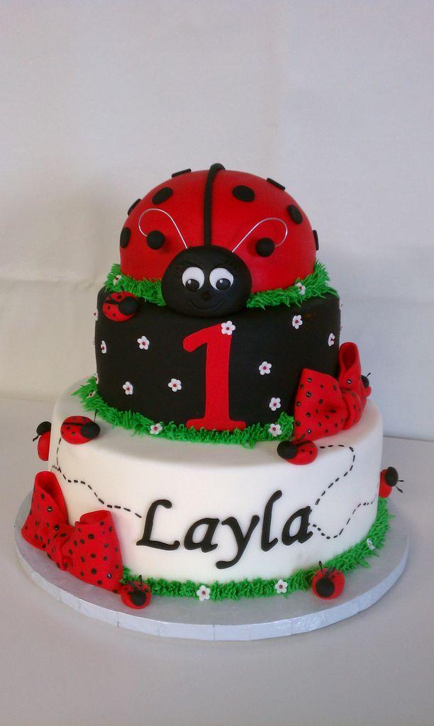 Remarkable Laylas Ladybug First Birthday Cake Ladybug Cakes First Personalised Birthday Cards Cominlily Jamesorg