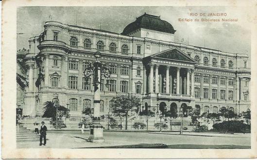 Oude prentbriefkaart van Nationale Bibliotheek van Brazilië in Rio de Janeiro