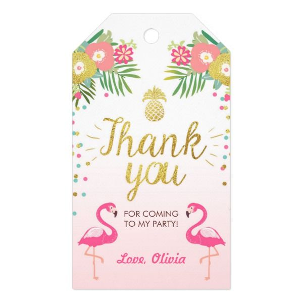 Tropical Birthday Thank You Tags Flamingo Luau Zazzle Com Birthday Thank You Tropical Birthday First Birthday Party Favor