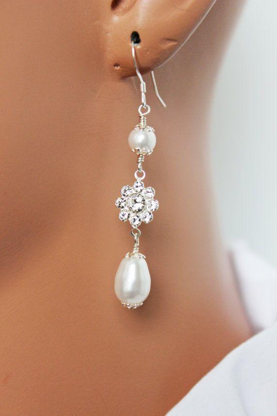 Pearl Drop Bridal Earrings Rhinestone Bridal by AuroraJewelryBox, $42.00