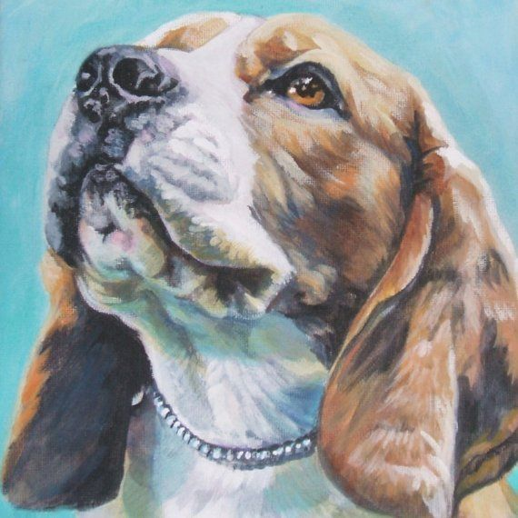 Beagle art print CANVAS print of LA Shepard by TheDogLover on Etsy, $19.99
