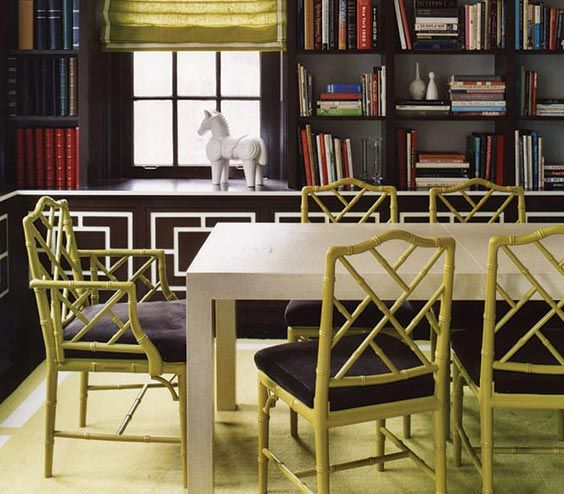 Amazing Hollywood Regency Decor · Faux Bamboo Chairs In Chartreuse Looks Vibrant  Against Chocolate Walls