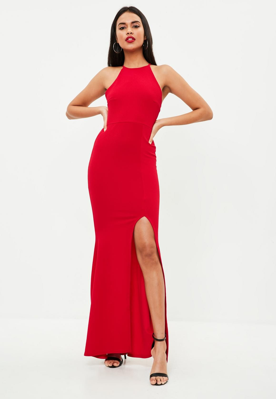 902ee6483b Missguided - Czerwona sukienka maxi z rozcięciem