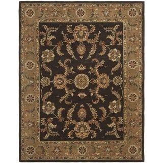 Handmade Tabriz Brown/ Beige Wool Rug (5' x 8')