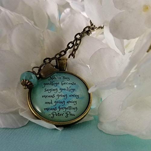 Peter Pan Quote Quote Necklace Glass Pendant Romantic Gift Idea