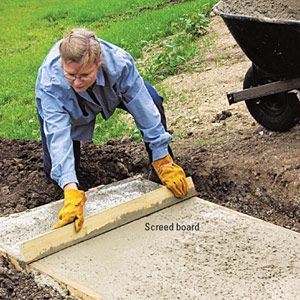 Forming A Concrete Pad Concrete Pad Deck Stairs Landing Deck Stairs