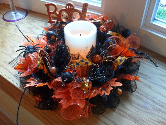 halloween centerpiece by heidiscustomwreaths on etsy - Halloween Centerpieces