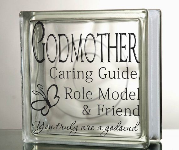 Glass Block Vinyl Decal DIY Godmother Friend Role Model Godsend - Glass block vinyl decals