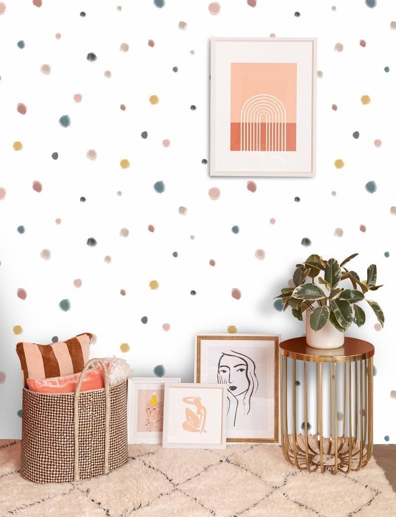 Pastel Colors Dots Kids Wallpaper Cute Nursery Wall Poster Etsy In 2020 Wall Murals Bedroom Kids Room Wallpaper Game Room Wall Art