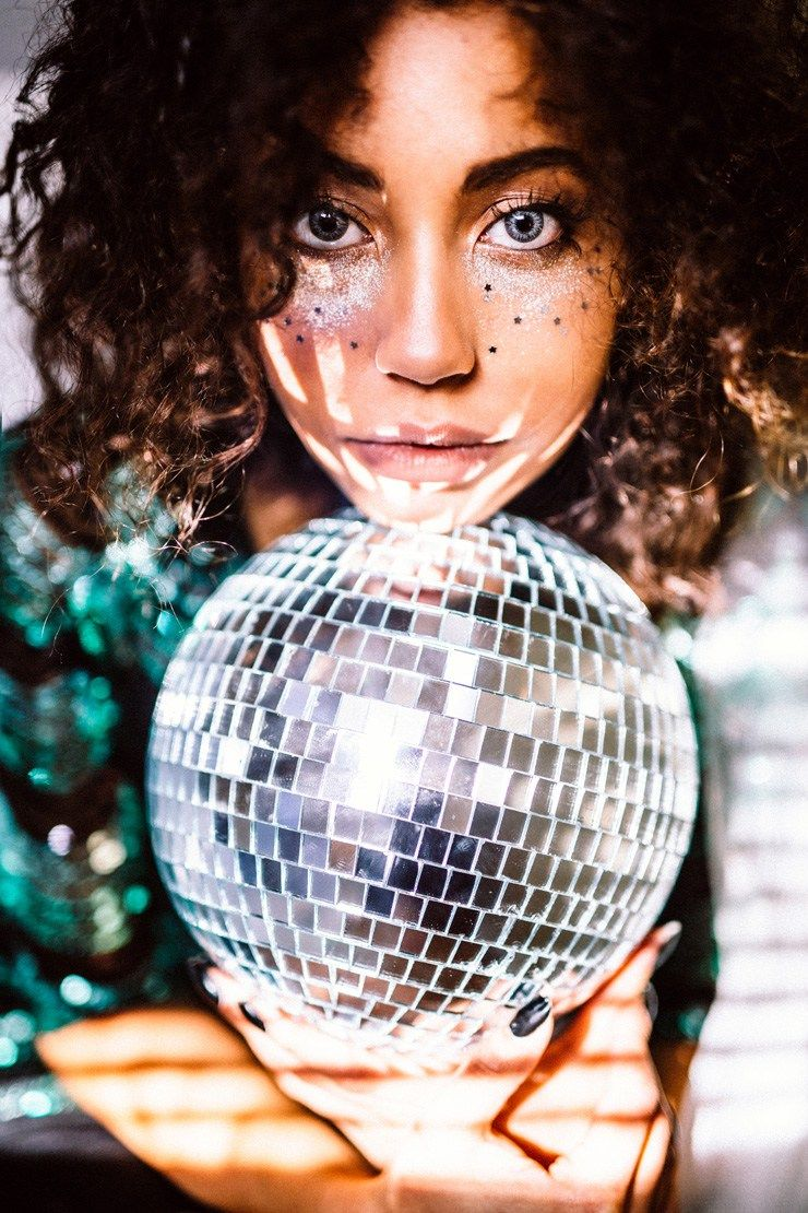 fashion photography fashion editorial new years eve photoshoot disco ball holiday