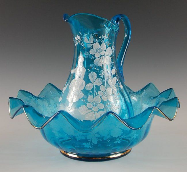 Victorian Art Glass Bowl Pitcher Set With Enamel Deco Mar 03 2013 Soulis Auctions In Mo Art Glass Bowl Pitcher Set Glass Bowl