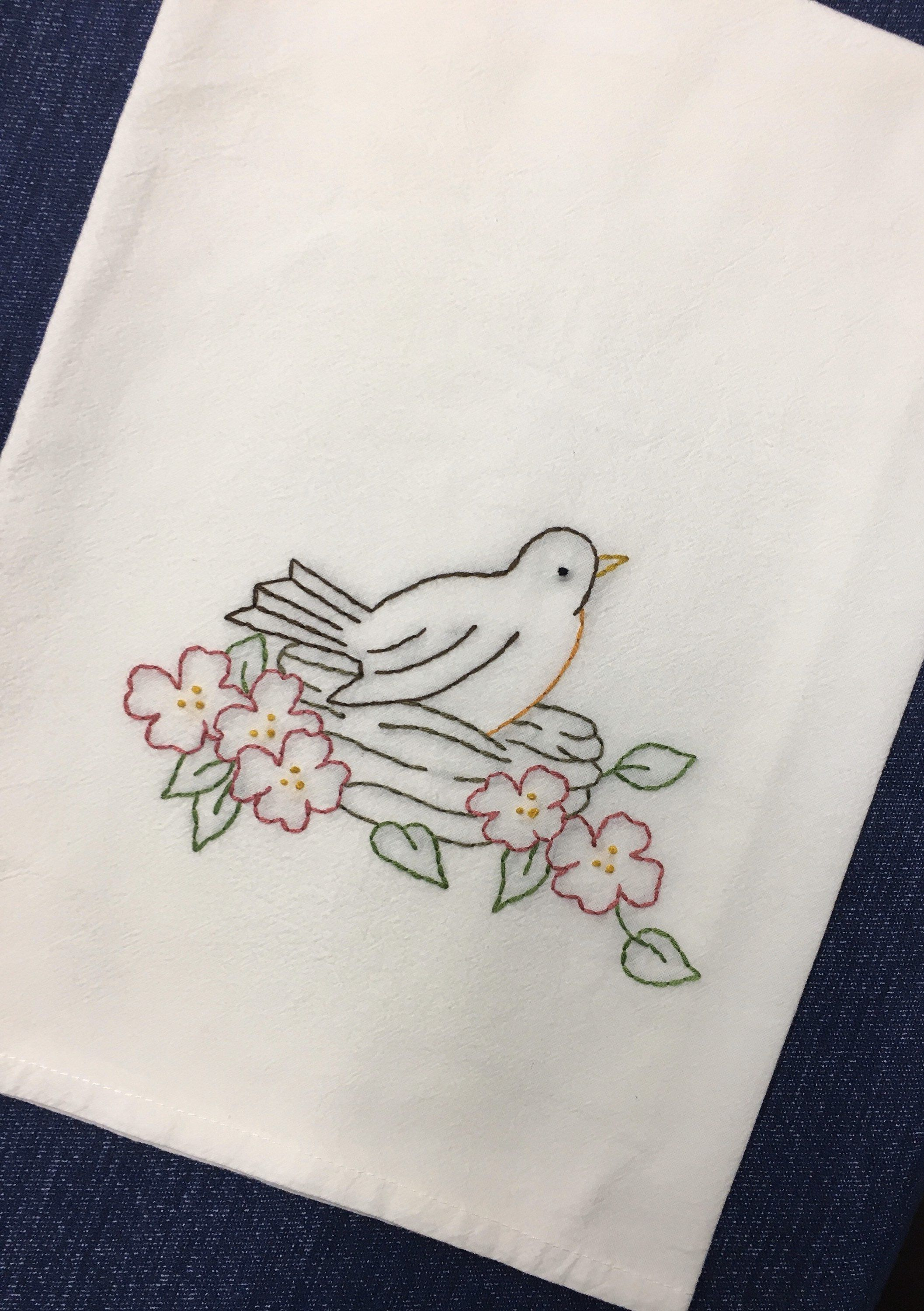Robin On Nest Tea Towel In 2020 Birds Embroidery Designs