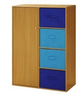 Kids Storage Cabinet With Baskets Beech Blue 48 H X 33 75 W 16 D Home Kitchen