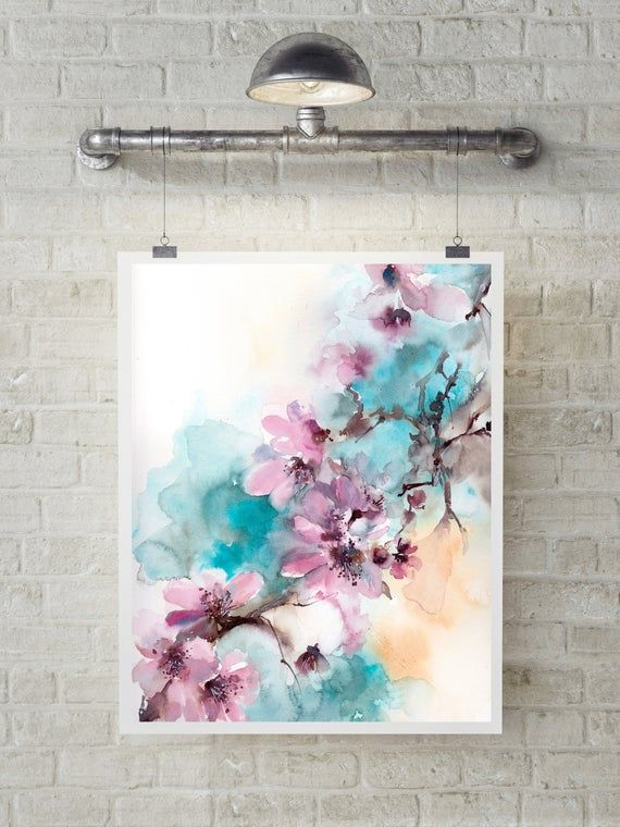 Floral Fine Art Print Pink Turquoise Blooming Branch Watercolor