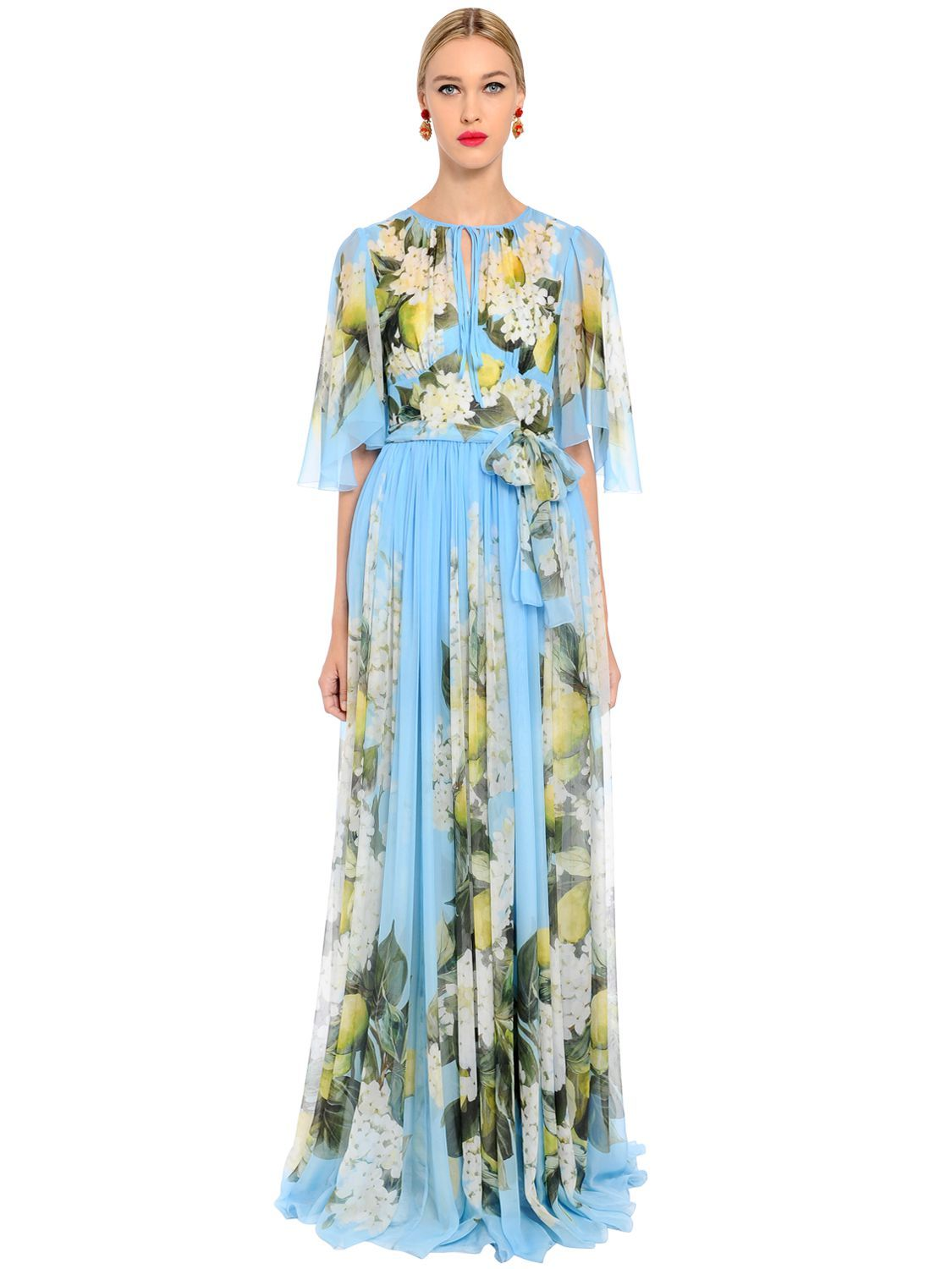 04d5e115 DOLCE & GABBANA FLORAL PRINT LIGHTWEIGHT SILK LONG DRESS. #dolcegabbana  #cloth #