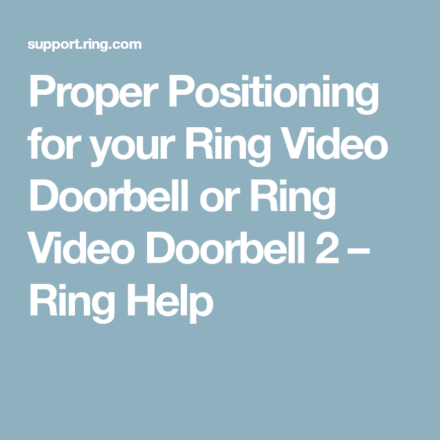 Proper Positioning for your Ring Video Doorbell or Ring Video ...