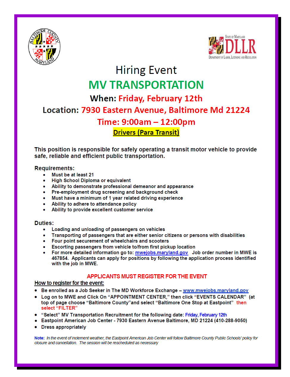 Hiring Event Mv Transportation When Friday February 12th