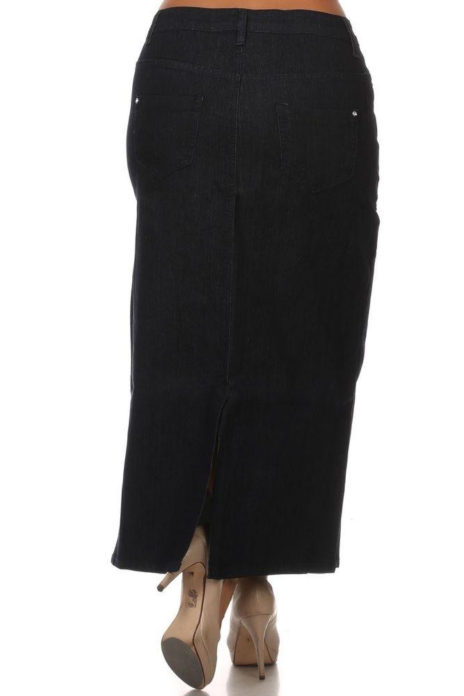 e920765df7 Long Stretch Skirt Womens Modest Jeans Skirt Black Denim Skirt Design Size  20 2X #Unbranded #StraightPencil