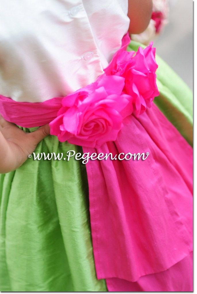 Apple green and shock hot pinksilk flower girl dresses by pegeen apple green and shock hot pinksilk flower girl dresses by pegeen hot pink flower girl dresses weddings pinterest silk flowers flower girl dresses mightylinksfo