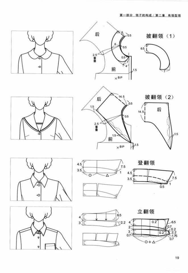 Collor pattern | Collars | Pinterest | Patrones, Costura y Molde