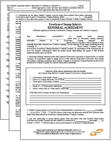 Foreclosure Cleanup Industry Referral Agreement  Pages Pdf  X