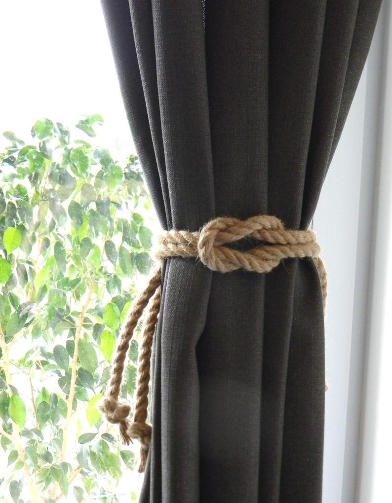 Set Of 2 Pcs Square Knot Nautical Curtain Tie Backs Beach