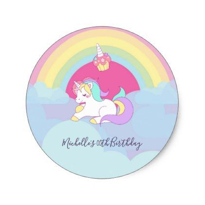Rainbow unicorn birthday party classic round sticker craft supplies diy custom design supply special
