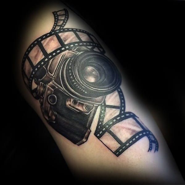 Camera Forearm Tattoo Designs For Men