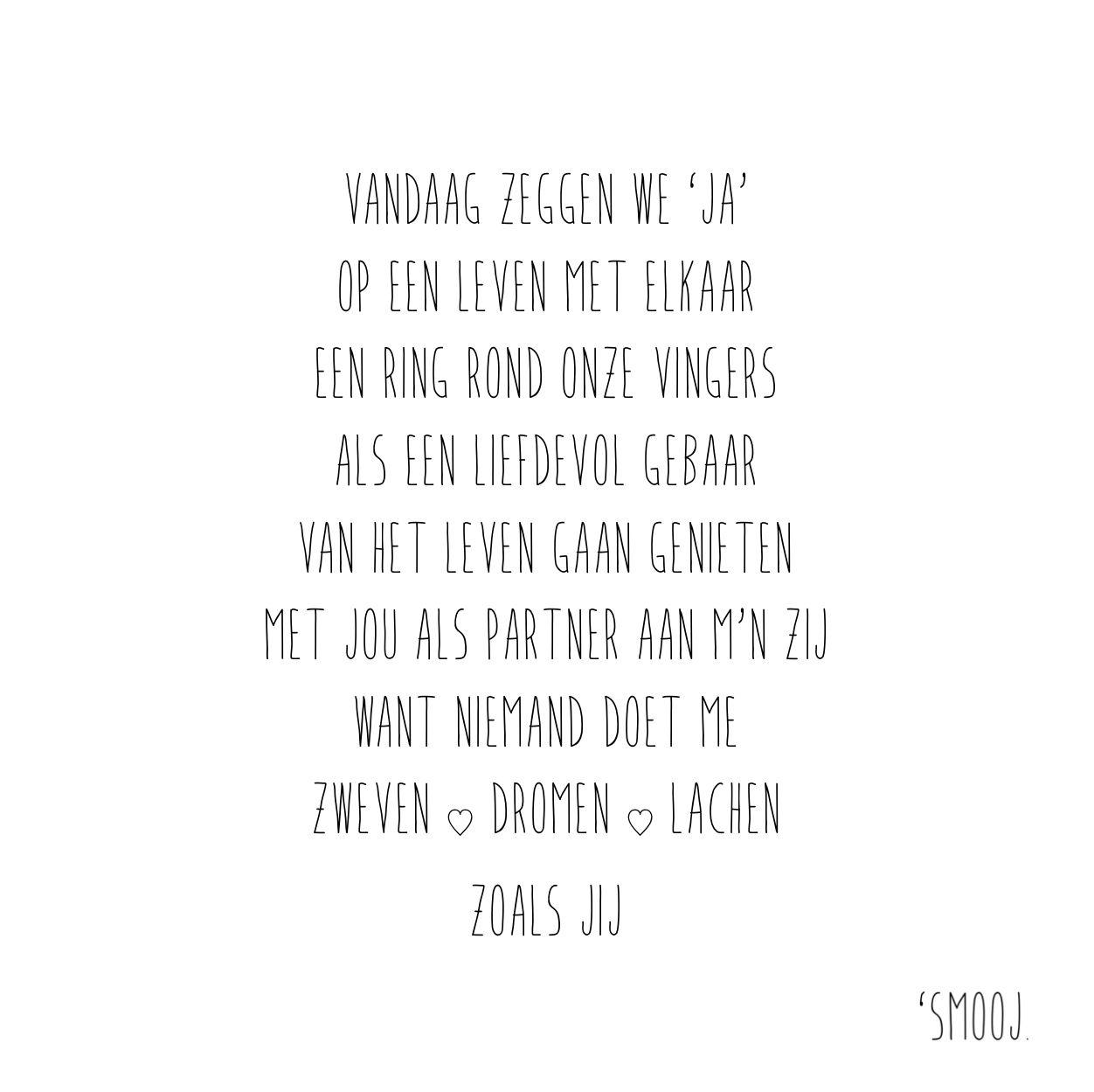 Ongebruikt SMOOJ | gedicht | quote | huwelijk | trouwen | ceremonie | trouw EU-57