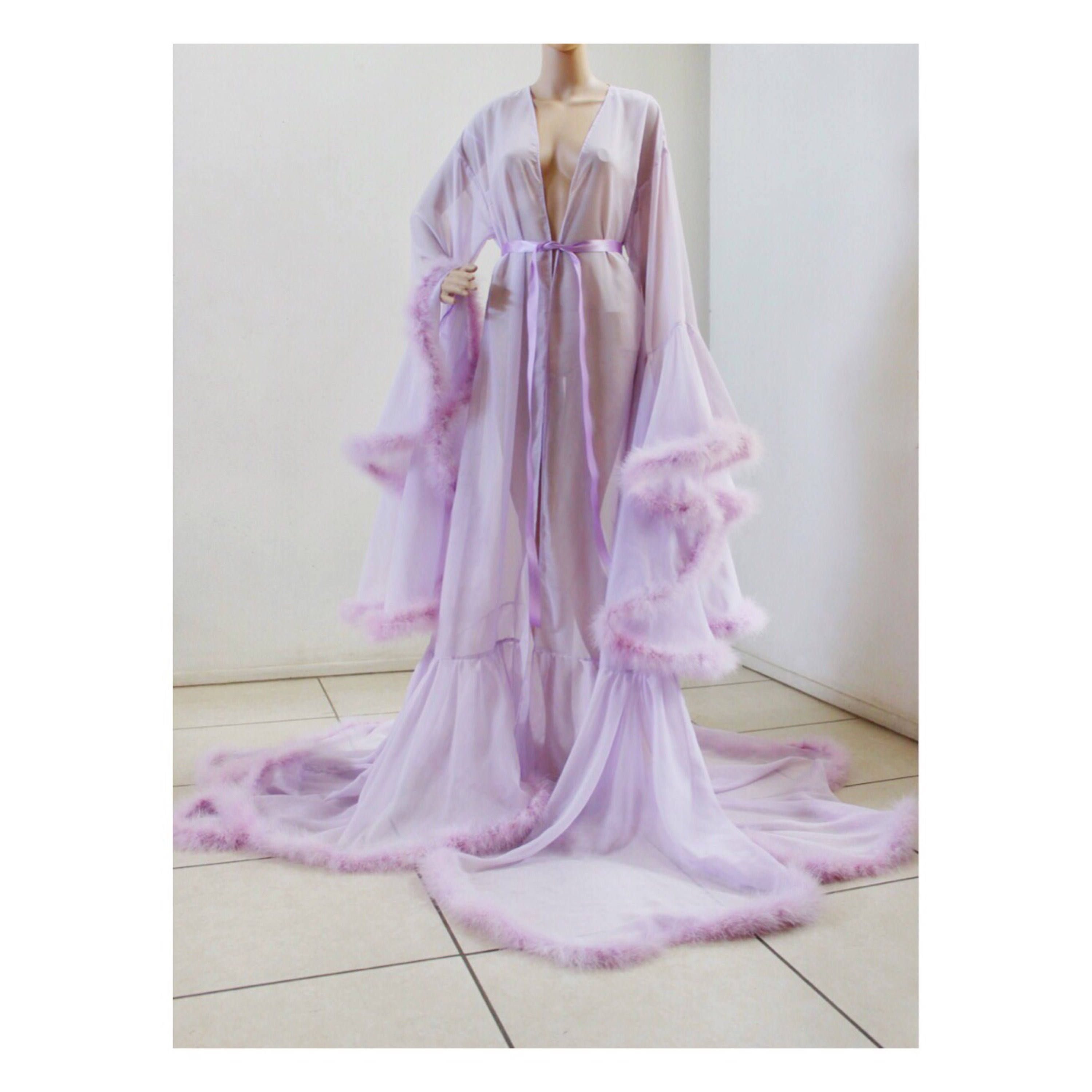 6c0f6ef4d Luxury Sheer Fur Robe Lingerie 'Lavender.' Feather trim robe with satin ties.  High quality lingerie