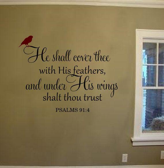 Psalms 91 4 Kjv Vinyl Lettering Wall Words Bible Verse