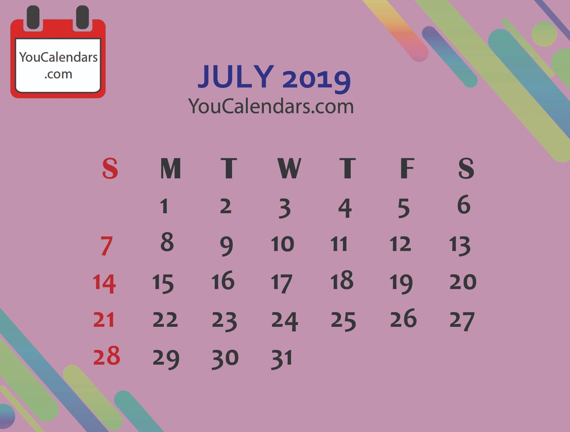 July 2019 Calendar With Holidays In 2019