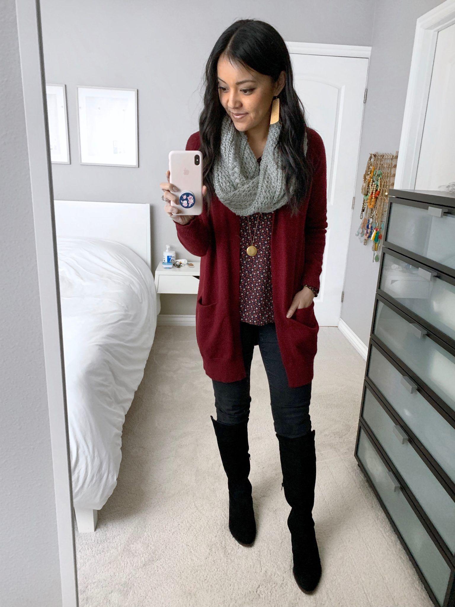 8bdacd3821a Floral print blouse+dark denim skinny jeans+black boots+dark red   burgundy  cardigan+grey knit scarf+gold pendant necklace+earrings.