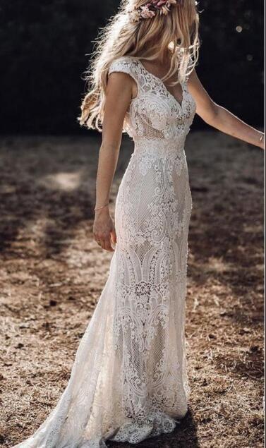 Full Lace Mermaid Wedding Dresses V Neck Cap Sleeve Bridal Gowns Bohemian Beach Garden Custom Made vestido de novia from Babybridal 1