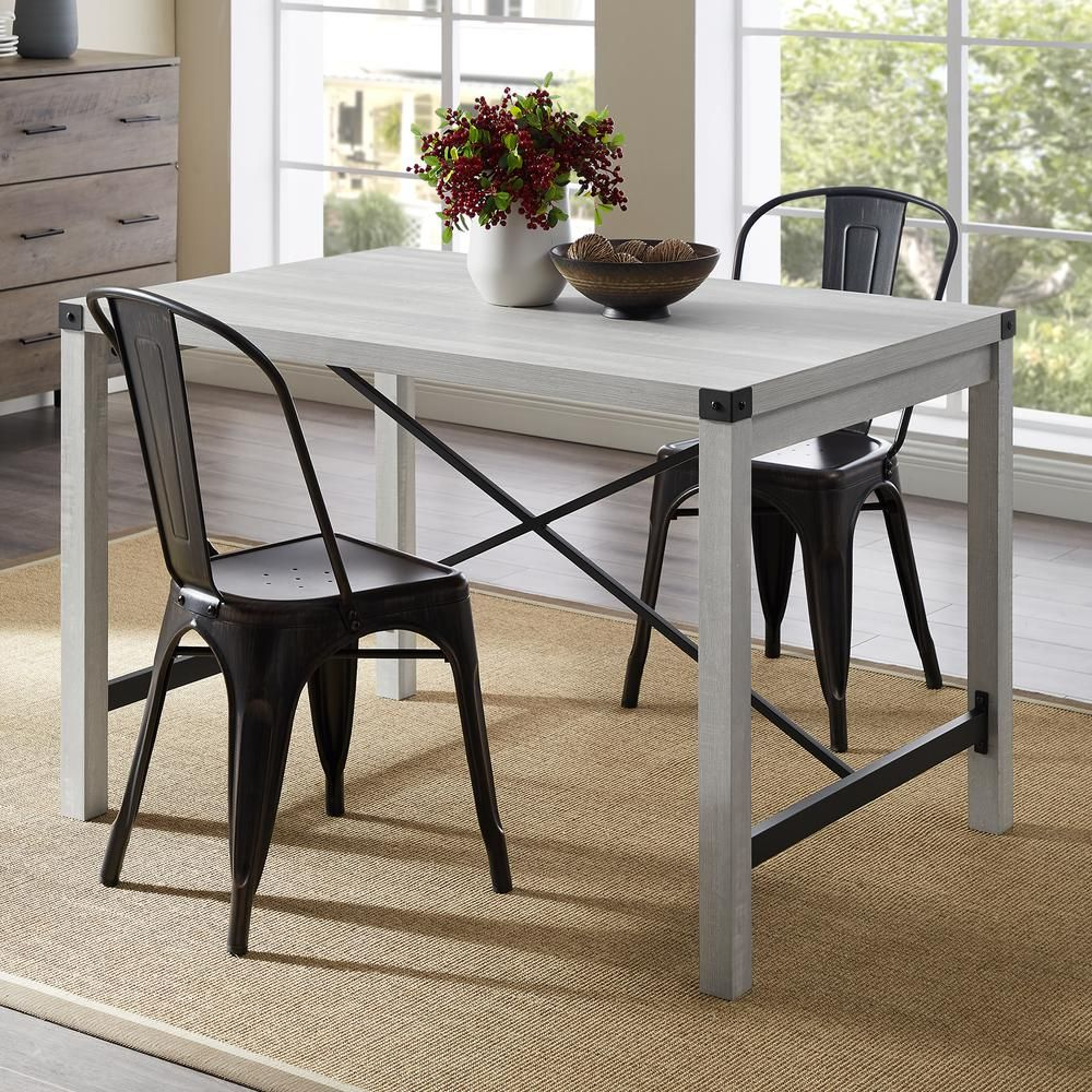 Walker Edison Furniture Company 48 In Stone Grey Industrial Farmhouse Dining Table Hdw48mwst The Home Depot Farmhouse Dining Farmhouse Dining Table Black Rectangular Dining Table