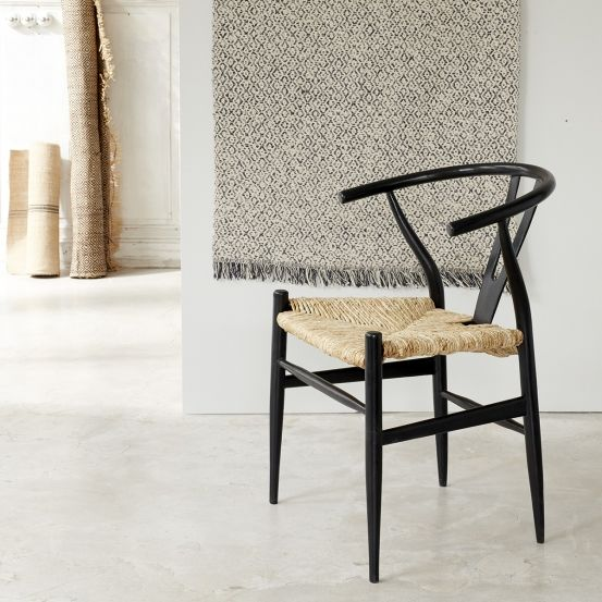 Chaise En Bois De Mindy Assise Tissee Noire Chaises Bois Meuble Decoration Interieure Cuisine