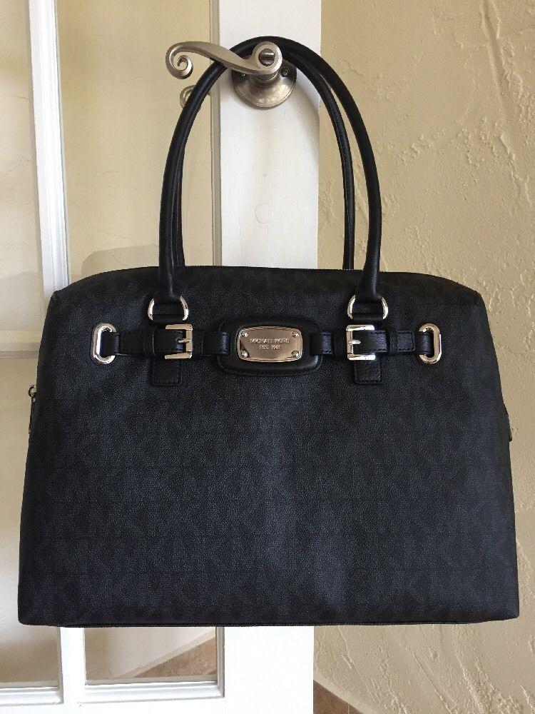 f4de6b08492d56 Michael Kors Hamilton Weekender Duffel Bag Travel Overnight Bag Black  Signature #MichaelKors