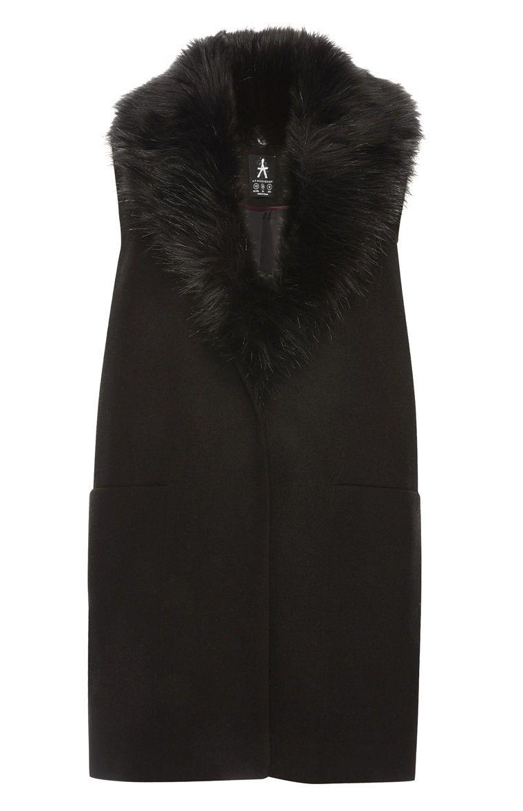 Black sleeveless faux fur coat