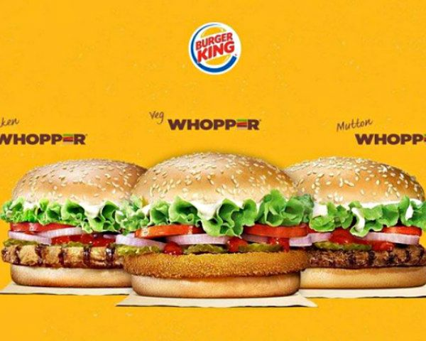 Burger King India - Beef-Less Burgers; chicken, vegetable, and mutton Whoppers