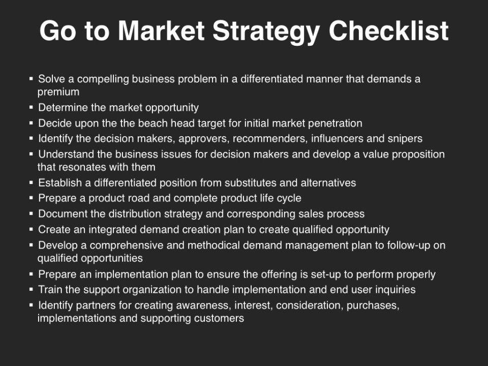 GoToMarket Strategy  Checklist  GoToMarket Strategy