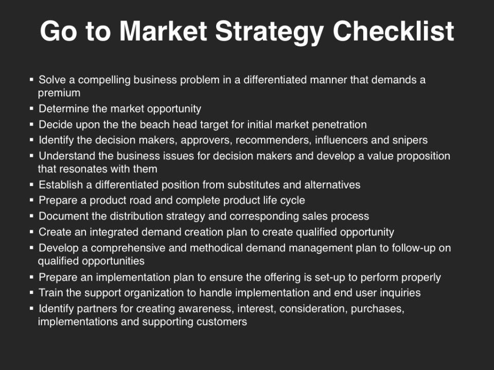 Go-to-Market Strategy - Checklist Go-to-Market Strategy Pinterest