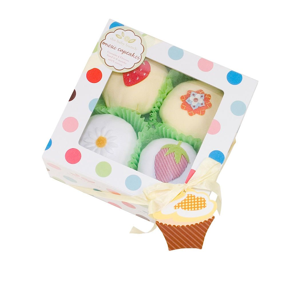 Box of 4 Yellow Cupcakes-Onesies 0-6M
