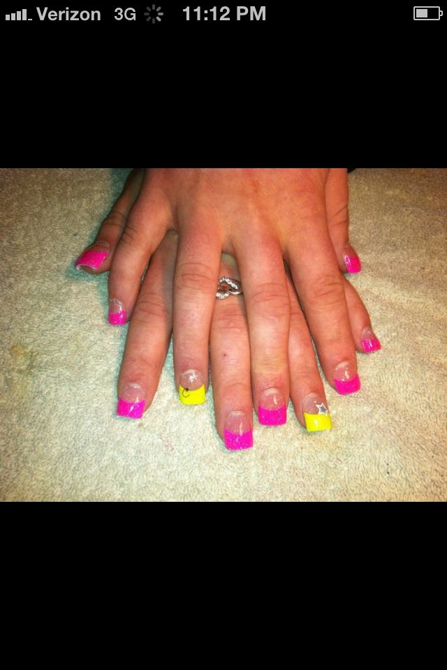 again, not a fan of pink but I love the neon tips   Nails ...