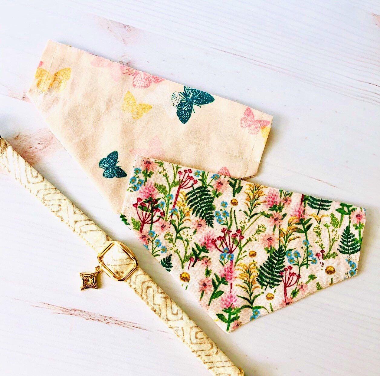 2 in 1 Pet bandana collar set Wildflower bandana collar