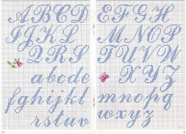 Alfabeto Punto Croce Corsivo Azzurro Alfabeto Punto Croce