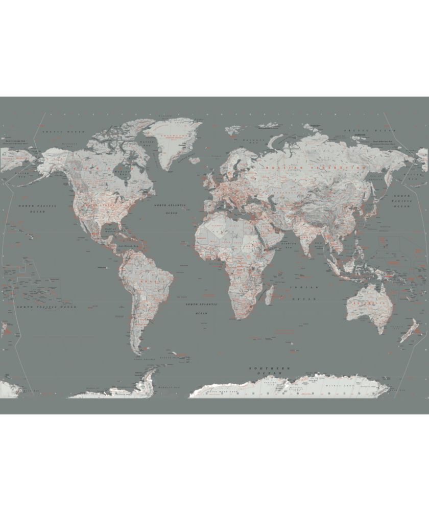 Buy 1wall silver map giant mural at argos your online shop world map grey with orange posters sur allposters gumiabroncs Gallery