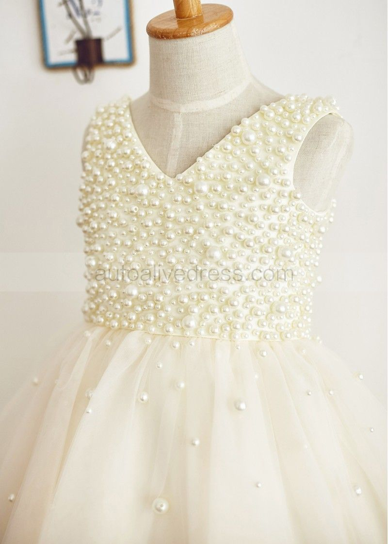 2da61aa91 Beaded Pearl Champagne Tulle Knee Length Flower Girl Dress | flower ...