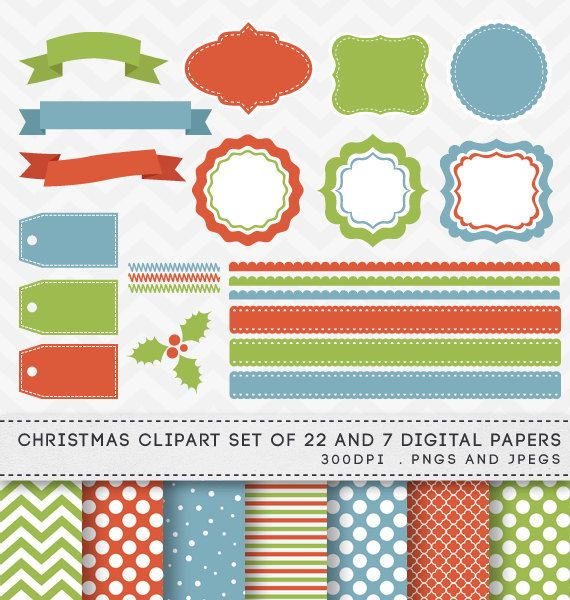 Christmas Digital Clipart Set Digital Labels Borders Papers by